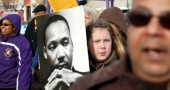 The reverend himself joins the citizens of Yellow Springs during the MLK Day march (photo by Aaron Zaremsky)