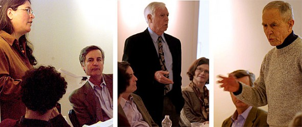 The Antioch College Pro Tempore Board of Trustees met last weekend, holding a session open to the public on Saturday afternoon. Topics of discussion included the accreditation process, the faculty search and the college's relationship to its former tenured faculty. Pictured above, from left, Jennifer Berman reported on the activities of the community governance task force, with new President Mark Roosevelt looking on; consultant Len Clark, who is overseeing the accreditation process, reported on a recent favorable site visit, with Alumni Board President Nancy Crow looking on; and faculty emeritus Al Denman expressed his concerns regarding the relationship of the college to its former tenured faculty. (Submitted photos by Jonny No)