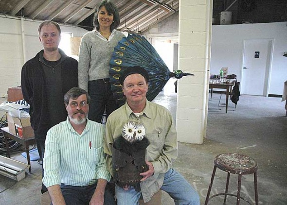 YS Kids Playhouse will hold its annual fundraiser to help save the summer season at its new space on the Antioch College campus next month. Pictured are, clockwise from top left, production coordinator Tom Clevenger, board member Nadia Malarkey, director John Fleming and board member Roger Beal. (Photo by Lauren Heaton)