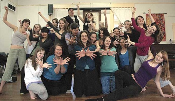 More than 50 local dancers will perform original pieces at the Yellow Springs Community Dance Concert on Friday and Saturday, March 25–26, at 7 p.m. at Antioch's South Gym. Dancers at a recent rehearsal are, in the front row from left to right, Emma Sturm, Theresa Thinnes, Lara Bauer, Andrea Hutson, Anna McClure, Tricia Gelmini, Erin Wolf; middle row, Jade Turner, Kira Plumer, Savanna Amos, Jennifer Johnson, Victoria Walters, Carrie Speck, Nicole Manieri, Marybeth Wolf, Miriam Eckenrode; back row, Acala Cresci, Greta Hill, Aaron Logan, Amanda Hanisch, Ali Thomas and Charlotte Walkey (obscured).  (Photo by Megan Bachman)