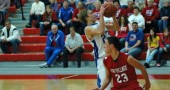 Tyler Bruntz. Jr. blows past the defense on a break away on his way to an 11-point game. The Bulldogs lost 62–43.