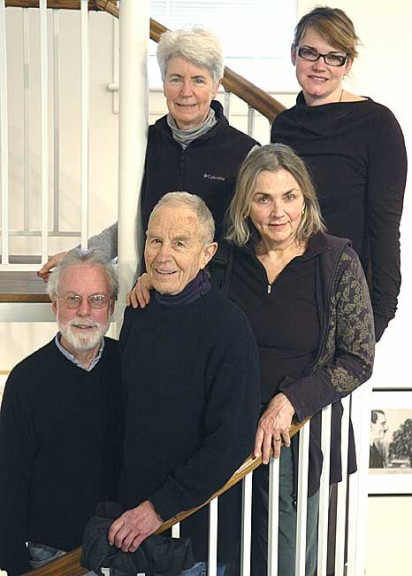 Part of a committee to bring contemplative education to the college are, from left, top row, Katie Egart and Amy Maruyama; bottom row, Robert Pryor, Al Denman and Dianeah Wanicek. (Photo by Megan Bachman)
