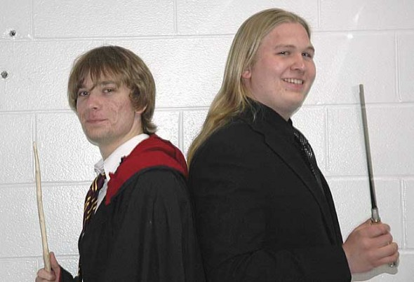 Yellow Springs High School seniors R.C. Worrell, left, and Phillip Kellogg are holding a two-part Harry Potter-themed event this weekend as their senior project, hoping to both entertain their peers and to raise money for literacy. The event, at Yellow Springs High School, begins with a 6 p.m. potluck on Saturday, April 9, followed by a 9 p.m. lock-in. Proceeds from the potluck and lock-in, which each have a suggested $5 donation, will benefit Book Aid, a British literacy organization. (Photo by Kelsey Cundiff)