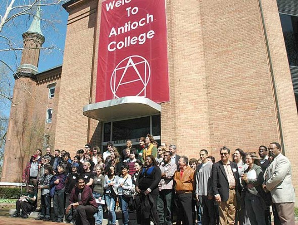 The Antioch College community gathered on the Main Building steps last Sunday during an open house attended by 24 of the college's 45 admitted students. (Photo by Megan Bachman)