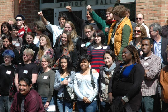 Antioch staff and admitted students gathered in front of Main Building on Sunday. (Photo by Megan Bachman