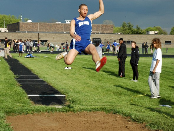 Antone Truss leaped to 18–3 to take second in the long jump. (Photo by Lauren Heaton)