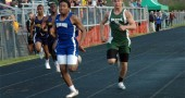 Mario Cosey blasted by his opponents to win the 100-meter dash at the Bulldog Invitational on Friday. (Photo by Lauren Heaton)