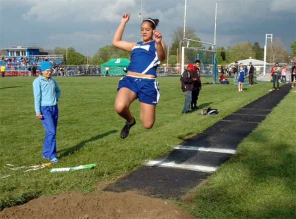Maryah Martin's third-place finish in the long jump helped her team finish third. (Photo by Lauren Heaton)