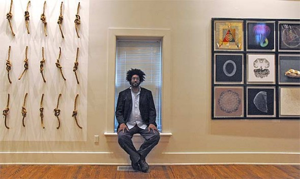 """Artist John Sims' installation will open with a reception this Saturday, May 21, 6–9 p.m., at the Herndon Gallery on the Antioch campus. The show """"explores the poetic intersections between mathematics and art."""""""