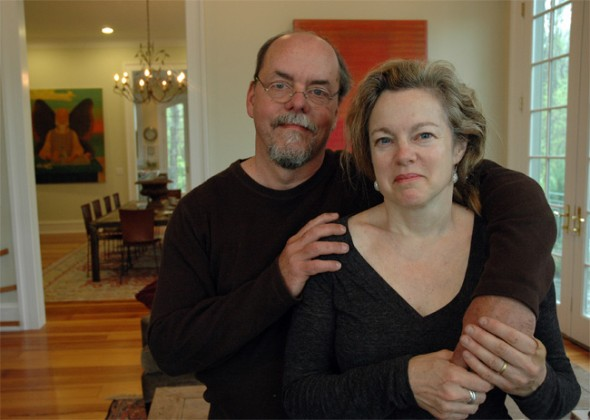 Erik and Deirdre Owen in the living room of their Glen Road home, which they have turned into a bed and breakfast. (Photo by Megan Bachman)