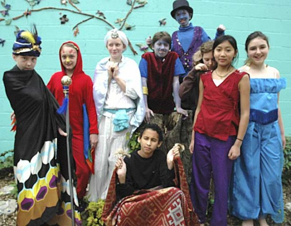 Playing the lead actors in Aladdin, the Antioch School musical next weekend will be, from left, Sophie Schellhammer, Jorie Sieck, Saskia Brogan, Jesse Beard, Landon Rhoads (in back), Ella Comerford, Olivia Brintlinger-Conn and Samantha Bold. In front is Eli Jones. The play will be presented Friday, May 20 at 7 p.m. and Saturday, May 21 at 1 p.m. at the Clifton Opera House. (Photo by Diane Chiddister)