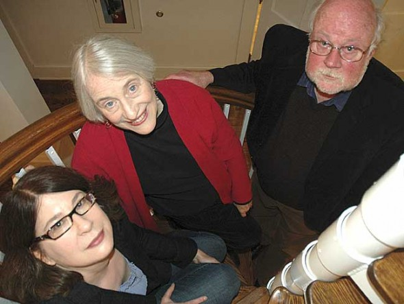 Morgan Fellows Jean Gregorek, left, Anne Bohlen and Scott Warren have been busy developing the curriculum and programming events at the revived college since September 2009. Their jobs come to an end on June 30. (Photo by Diane Chiddister)