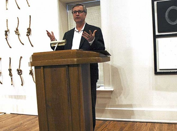 Last Friday Antioch College President Mark Roosevelt gave the State of the College address to an audience of about 50 Antioch and Yellow Springs community members. The event was the beginning of a weekend-long meeting of the college's board. (Photo by Diane Chiddister)