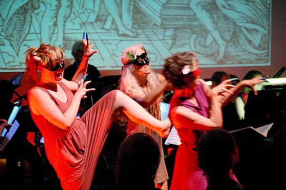 Demons (from left, Amelia Tarpey, Ali Thomas and Jill Becker danced in Hades during Sunday's performance of Orfeo ed Euridice, which was organized by conductor James Johnston in honor of the rebirth of Antioch College. (Photo by Aaron Zaremsky)