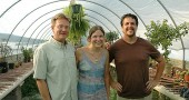 Yellow Springs Botanicals, made up of the plant enthusiasts, from left, Mitch George, Erin Currier and Kyle Lewis, is a new exotic and rare plant business opening on the Village property formerly occupied by Stutzman's Nursery. (Photo by Megan Bachman)