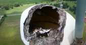 Lightning damage to the WYSO antenna and the fiberglass casing that covers it. The antenna bay is 405 feet above the ground, attached to the WYSO tower on Clifton Road south of Yellow Springs. (Submitted photo)