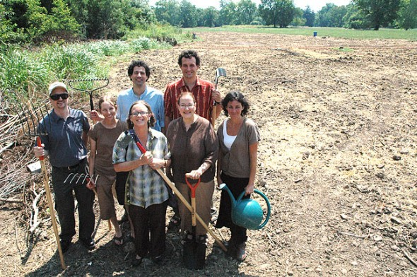 "Antioch College recently announced that its begun the Antioch College Farm, its first major sustainability project, to be located on the former ""golf course."" Shown above is the committee of faculty and staff who are meeting to explore ways to integrate the farm into campus life. Shown above are, from left first row, chemistry professor David Kammler; local farmer Kat Christen, who will design the farm's first phase; Dean of Community Life Louise Smith; and Glen Helen Project Managers Ann Simonson and Brooke Bryan. In back are Glen Helen Director Nick Boutis, who will coordinate campus sustainability efforts, and philosophy professor Lewis Trelawny-Cassity. (Photo by Diane Chiddister)"