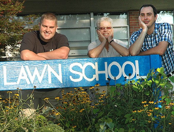 New teachers Dan West, left, and Carol Culbertson joined Mills Lawn Principal Matt Housh at the school this week. School starts on Wednesday, Aug. 24. (Photo by Diane Chiddister)