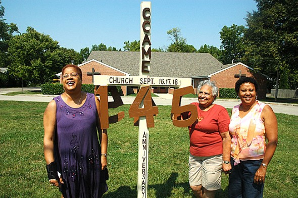 The Central Chapel AME Church is celebrating its 145th anniversary next weekend, Sept. 17–19, with a Friday evening banquet, Saturday afternoon picnic and two worship services on Sunday. Members of the organizing committee, from left, Carolyn Walker-Kimbro, Nan Harshaw and Denise Lennon, met last week at the chapel on High Street to finalize the festivities. (Photo by Megan Bachman)
