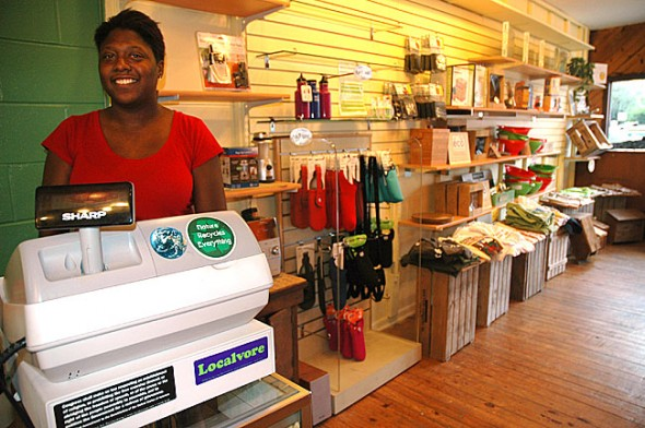 Rhonda Newsome, pictured above, and her husband, Jason, are the new owners and operators of Eco•mental on Xenia Avenue downtown. The local couple purchased the business from CJ Williams and Nancy Grigsby, and plan to continue most products while adding some new items. (Photo by Diane Chiddister)