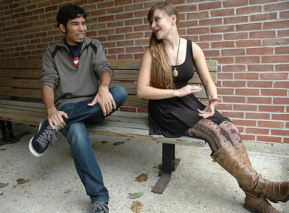 Zeb Reichert and Megan Miller, shown here at McGregor Hall, are Yellow Springs community members who are among the group of 35 Antioch College students arriving on campus this Saturday, Sept. 24. On Sunday the students begin a two-day community-building workshop a