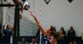 Emma Peifer spiked the ball for a point during Thursday's three-set victory over Xenia Christian. (Photo by Megan Bachman)