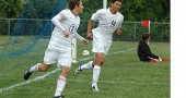 Seniors Jacob Trumbull and Antone Truss celebrate Trumbull's third goal in the first half of the Belmont game.  (Photo by Megan Bachman)