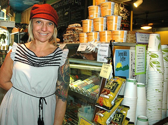 Wendy Copper of Yellow Springs, pictured above, and her business partner, Doug Siegal of Bloomington, Ind., have launched a new business, Vigilant Eats. Their first product, Organic Superfood Oat-based Cereal, is being sold at the Emporium/Underdog Café. You can find the cereal beside the oatmeal on the cream stand. (Photo by Diane Chiddister)