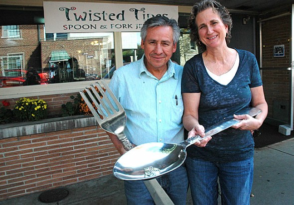 Connie and José Soto opened their second handmade silver jewelry shop in the village last weekend in the space where Hasser's Barber Shop used to operate. (Photo by Lauren Heaton)