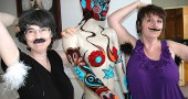 The JafaGirls Corrine Bayraktaroglu and Nancy Mellon open their Hairy Art Palace show during this Friday's Third Friday Fling and Art Stroll, from 6 to 9 p.m. at the Arts Council Gallery at the Oten building, 309 Xenia Avenue. The gallery will be open during the weekend's Artist Studio Tour. (Photo by Lauren Heaton)