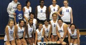 The MBC championship team. From left, back row):  Coach Extraordinaire Chris Linkhart, team helper Tyler Linkhart, Aliza Skinner (#6), Elizabeth Smith (11), Kasey Linkhart (9), Danielle Warsham (12)                                      (center, short brown hair, number not visible): Amelia Gray                                     (From left, front row): Maya Creighton (10), Annabel Welsh (14), Julie Roberts (2), Gracie Wilke (directly behind trophy), Lorien Chavez (5), Olivia Chick (3), Danny Horton (16), Allison Bothwell (8). (Submitted photo)