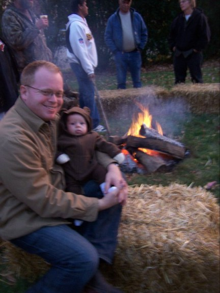 Papa bear and baby bear at the bonfire