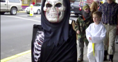 A bloody skeleton, a yellow belt and Fidel Castro could all be seen downtown yesterday.