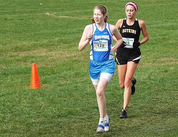 Junior harrier Lois Miller raced in the Ohio High School Southwest Regional Championships last weekend. She finished in 20:47, about 30 seconds shy of qualifying for the state finals for the second consecutive year. (Photo by Megan Bachman)