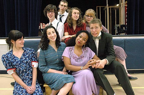 The Yellow Springs High School fall play, The Last Night of Ballyhoo, will be presented this weekend and next, Nov. 11–13 and 18–20 at 8 p.m. Fridays and Saturdays, and 2 p.m. Sundays at the Mills Lawn gym. Shown are principals, counter clockwise from bottom left, Lela Dewey, Liana Rothman, Zyna Bakari, Ben Green, Lydia Jewett, Talia Boutis, Colton Pitstick and Rory Papania. (photo by Lauren Heaton)