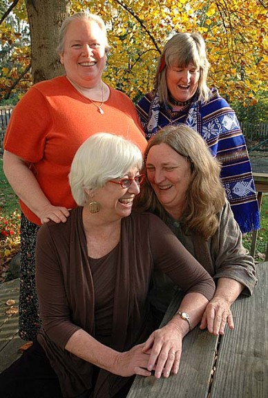 "Organizers of the upcoming community singing event, ""Singing from the Heart,"" are, from left front, Denise Runyon and Theresa Horan-Sapunar, and from left back, Linda Griffith and Jannirose Fenimore. The event takes place next Saturday, Nov. 19, from 7–9:30 p.m. at Westminster Hall at the First Presbyterian Church. (Photo by Diane Chiddister)"