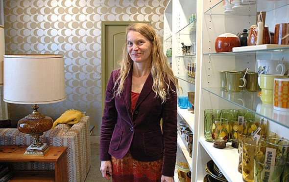 Village resident Valorie Claggett recently opened her store of vintage and retro furnishings, Modern Salvage, at 138 Dayton Street. Claggett, an architect, designer and historical preservationist, will stock the store with unique and simple modern items from estate sales, garage sales and thrift stores. (Photo by Megan Bachman)