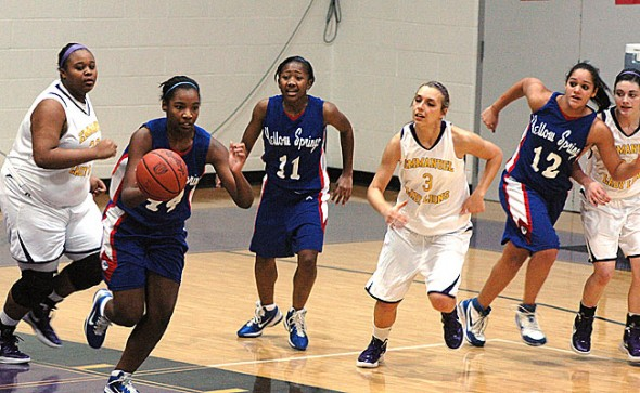 Bulldogs center Angela Allen ripped the ball from an Emmanuel Christian player and took it for two points during the YSHS girls varsity team's 33–26 loss this week. Allen notched a double-double the previous week against Bradford, with 13 points and 13 rebounds. (Photo by Megan Bachman)