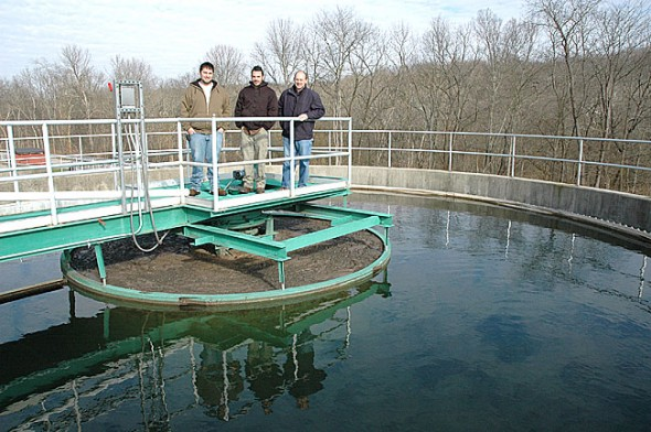 From left, Village treatment plant operator Brad Ault, intern Richard Stockton and water and wastewater superintendent Joe Bates reviewed the major upgrade to the Village Water Reclamation plant that was completed last month. (Photo by Lauren Heaton)