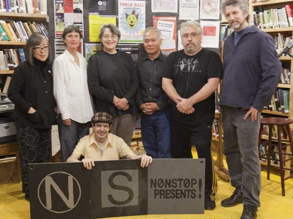 Members of the Nonstop Institute of Yellow Springs gathered recently in the library of their Millworks building. Shown above are, from left standing, Migiwa Orimo, Jill Becker, Chris Hill, C.T. Chen, Michael Casselli and Dan Reyes, with Lincoln Alpern in front. While members will no longer have Nonstop's MillWorks facility, they plan to continue sponsoring artistic and cultural events in the village. (Submitted photo)