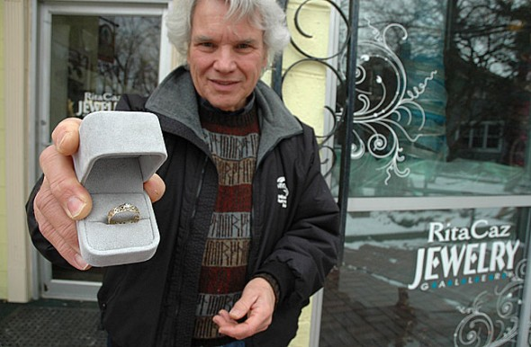 Rita Caz recently set an unusual diamond ring for customer Vernon Dunlap. The diamond itself was created from the cremated remains of his wife, Roberta, using a process that distills and concentrates the carbon in human ashes under high heat and pressure. (Photo by Megan Bachman)