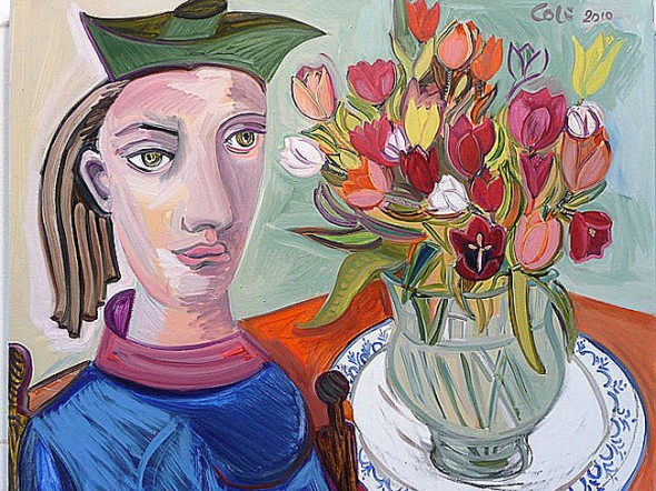 Woman With Tulips I, 24 x 30, Oil on Canvas, 2010