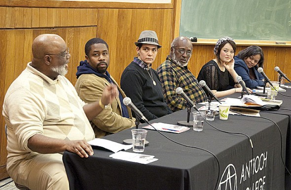 Panelists at the Antioch College MLK Day panel on diversity issues at the college were, from left, Maceo Cofield, '71; Devon Berry, '99; Shelby Chestnut, '05, moderator Prexy Nesbitt, '67; Nargees Jumahum, '15; and Robin Henry, '81. About 100 students, staff and townspeople attended the event in McGregor 113. (Submitted photo by Dennie Eagleson)