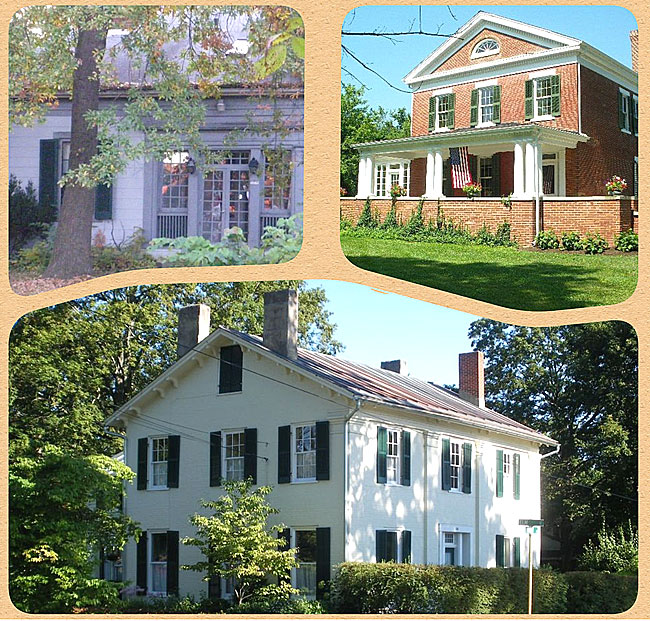Historic buildings covered by Robin Heise in her talk this Sunday at 2 p.m. at the Senior Center will include the Barr property, top left, the Carr House, top right, and the Mucher home on Walnut Street.