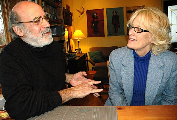 The University of Dayton will present Eleemosynary at its Boll Theater beginning this weekend, at 8 p.m. on Feb. 3 and 4, and 7 p.m. on Feb. 5. The play, which continues next weekend, is directed by Yellow Springs resident Tony Dallas and stars local actor Marcia Nowik, who are shown discussing the play at Dallas's Stafford Street home. (Photo by Diane Chiddister)