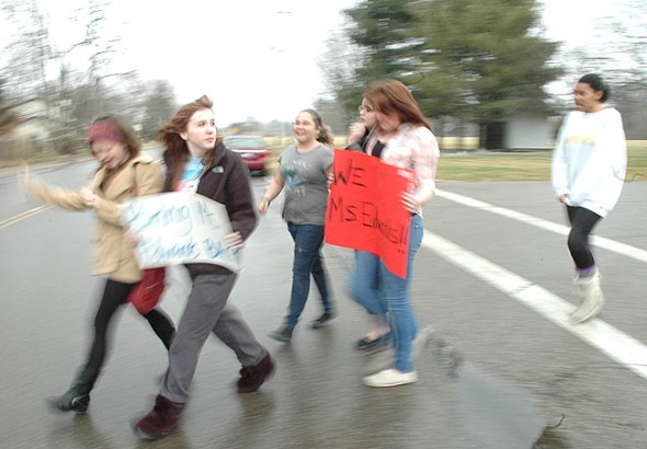 Yellow Springs High School students walked out of class last Wednesday, Feb. 8, in protest of the removal of their chemistry teacher from school. District Superintendent Mario Basora came to the school to field questions from students. (Photo by Lauren Heaton)