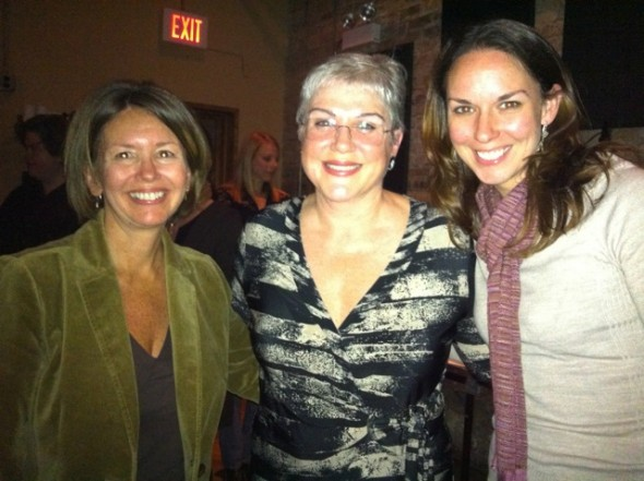 Comedian Julia Sweeney, center, will perform at the Antioch School's 90th anniversary auction gala next month. Sweeney, a cast member on Saturday Night Live in the 1990s, was persuaded to come by Kipra Heerman, left, and Liz Griffin, right, of the Antioch School development committee, who drove to Chicago to tell her about one of the nation's older alternative schools last fall. (Submitted photo)
