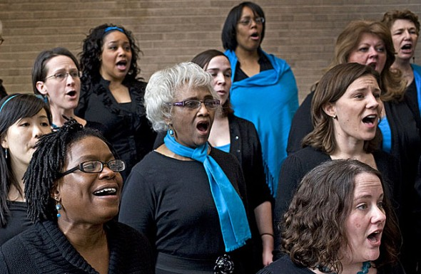 Cincinnati women's choir Muse will perform at South Gym, Antioch College at 7 p.m. on Saturday, March 3. The concert is a fundraiser for the Yellow Springs Community Food Pantry. Muse's founding director, local resident Catherine Roma, organized the concert in collaboration with Antioch College to promote international women's month. (Submitted photo)