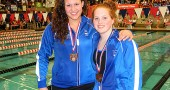Bulldog swimmers Erika Chick, left, and Elizabeth Malone each won seventh-place medals at the Ohio Division II State Swimming Finals, held last week in Canton. Chick and Malone, who are seniors, hold 12 of the school's 16 individual swimming records between them. (Submitted photo by Jody Chick)
