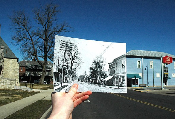 "The Yellow Springs downtown of the early 1900s is superimposed on the Yellow Springs of today. In the same way, the village's past comes alive on the Web pages of local history blogs started in recent years. The historical photo (c.1910) was taken from approximately the same location looking north on Xenia Avenue 100 years ago. Visible are the traction line, built in 1902, the Independent Order of the Odd Fellows building and new cement sidewalks. Visit ysnews.com for more photos in the ""Past and Present"" series. (Historical photo courtesy of Antiochiana, Antioch College; photo by Megan Bachman)"